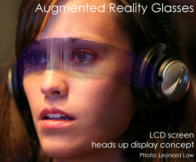 LCD screen heads up display on woman. Concept for Augmented Reality.